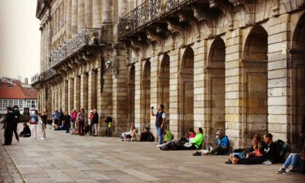 The porticos of the town hall in the Plaza del Obradoiro